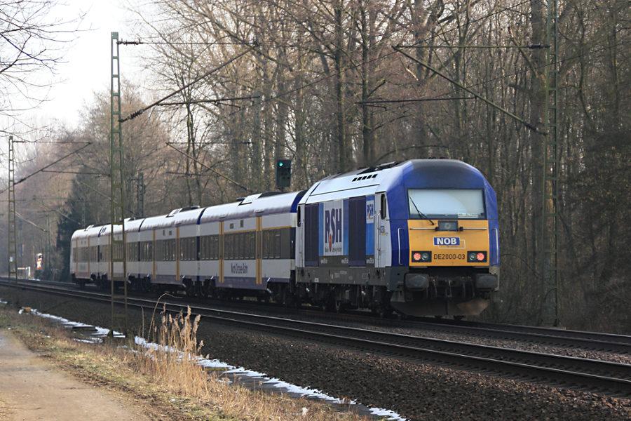 DE 2000-03 (223 055) mit NOB 81719 kurz nach der Durchfahrt durch den Haltepunkt Prisdorf.