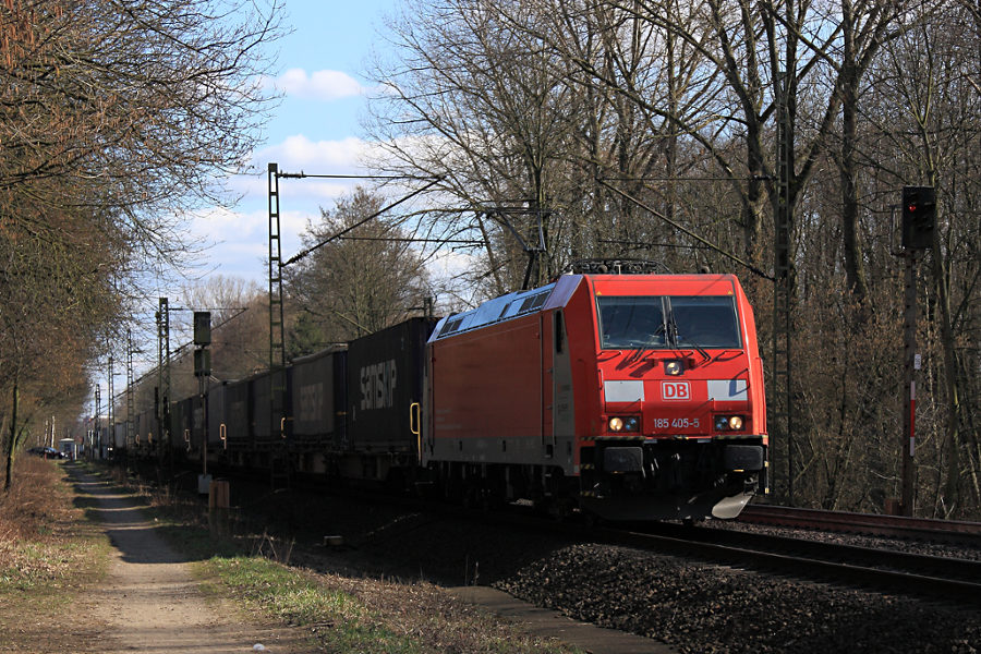 185 405 mit Güterzug kurz vor der Durchfahrt des Haltepunkts Prisdorf.