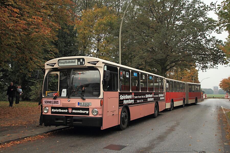 HOV 6416 und 7211 während des 13. Verkehrshistorischen Tags an der Sonderhaltestelle Stadthallenbrücke.
