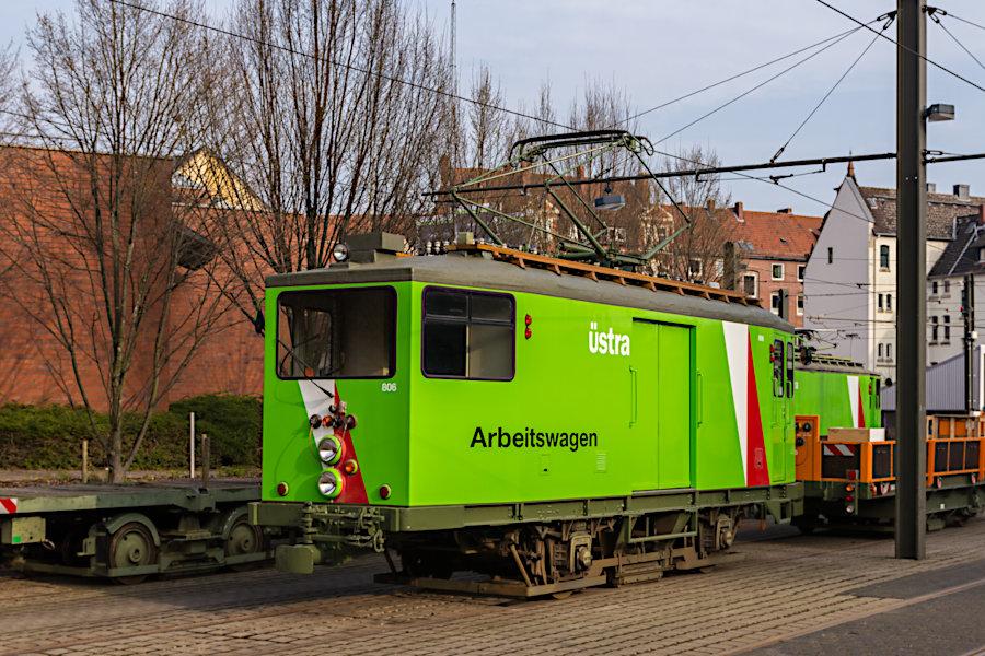 Arbeitswagen 806 auf dem üstra-Betriebshof Glocksee.