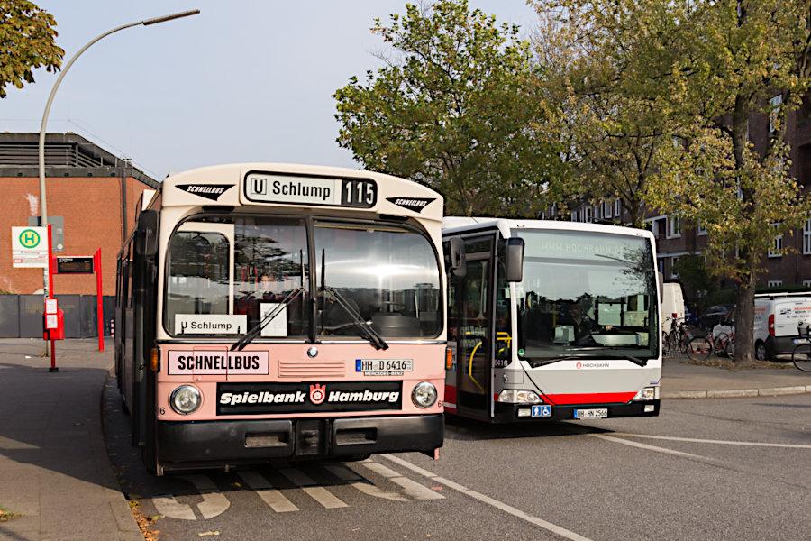 HOV 6416 und HHA 6416 an der Haltestelle U Schlump.