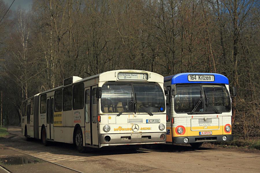 Ex üstra 8124 und ex Vestische 2114 im Hannoverschen Straßenbahn-Museum Wehmingen..