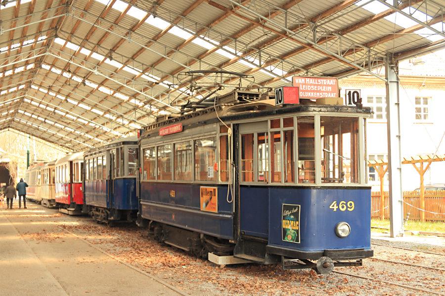 Tw 469 und Bw 757 (ex Amsterdam) im Hannoverschen Straßenbahn-Museum Wehmingen.